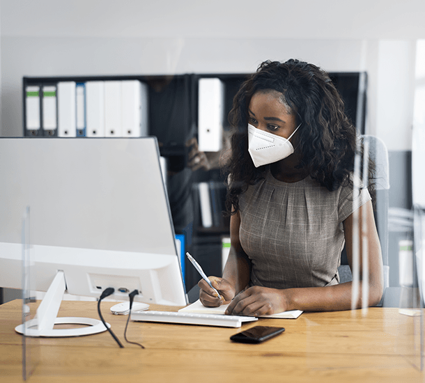 Wearing a mask during COVID-19 while working in an office